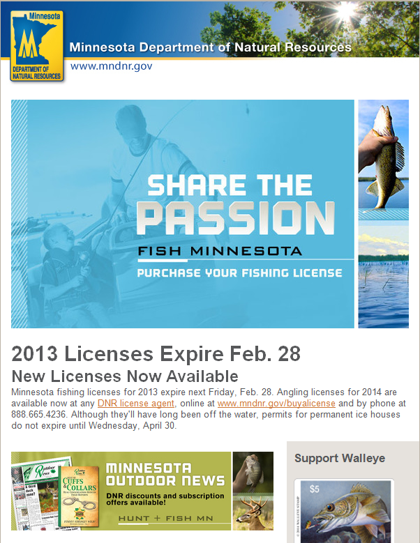 Mn Dnr Fishing License Reminder Email Email Design Inspiration Create Email Email Design