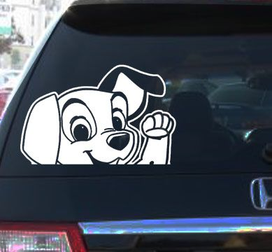 LADY TRAMP MOVIE Car Vinyl Decal Sticker CARTOON DOG ColorWhite - Car sticker decals