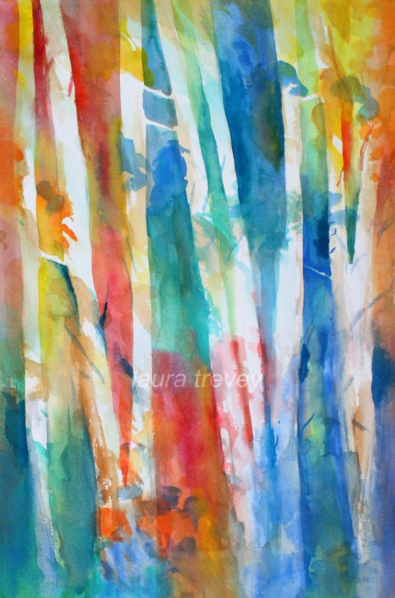 Birch Trees Watercolor Print | Watercolors, Turquoise and ...