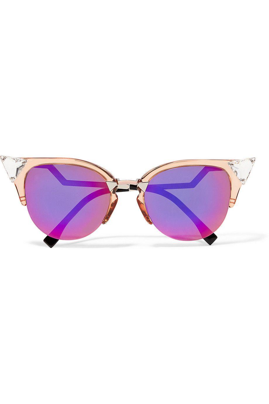 bf6f1f1a6cad FENDI Swarovski crystal-embellished cat-eye acetate and metal sunglasses