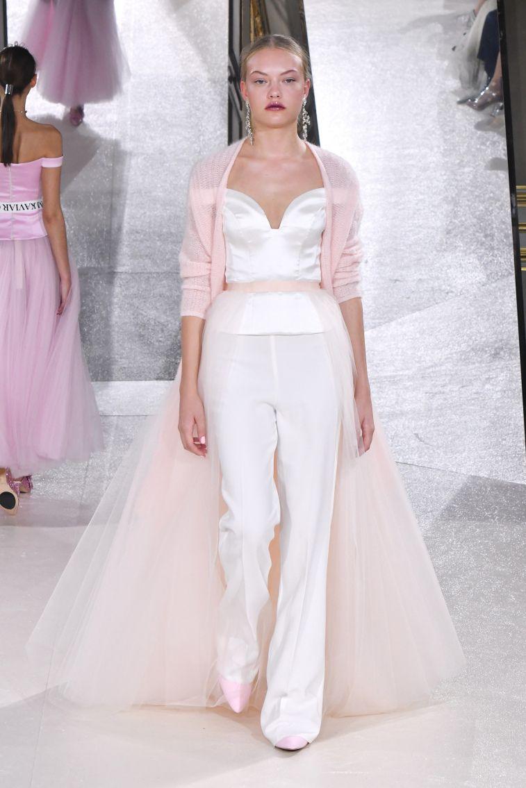 Kaviar Gauche Spring 2018 Wedding Dresses La Vie En Rose sweetheart neckline blush blazer trouser wedding dress #weddingdress #weddinggown