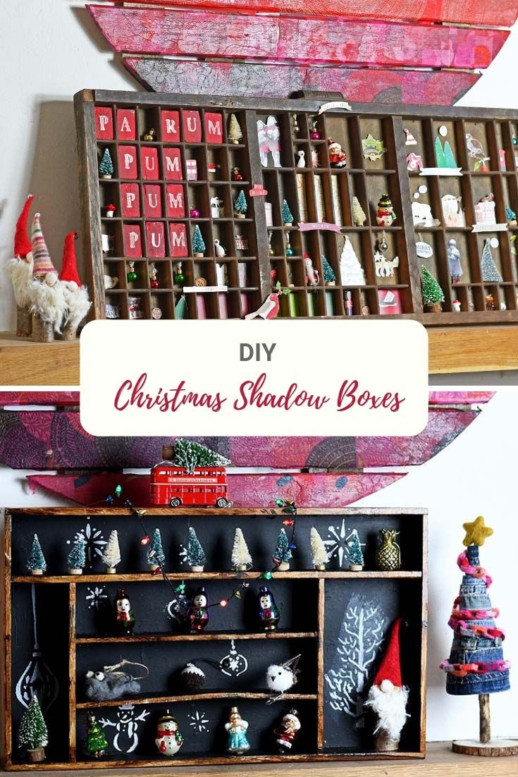 How to make Christmas shadow boxes out of either a vintage printers tray or an old wooden cutlery tray. #shadowbox #christmasshadowbox #cutlerytray #printerstray