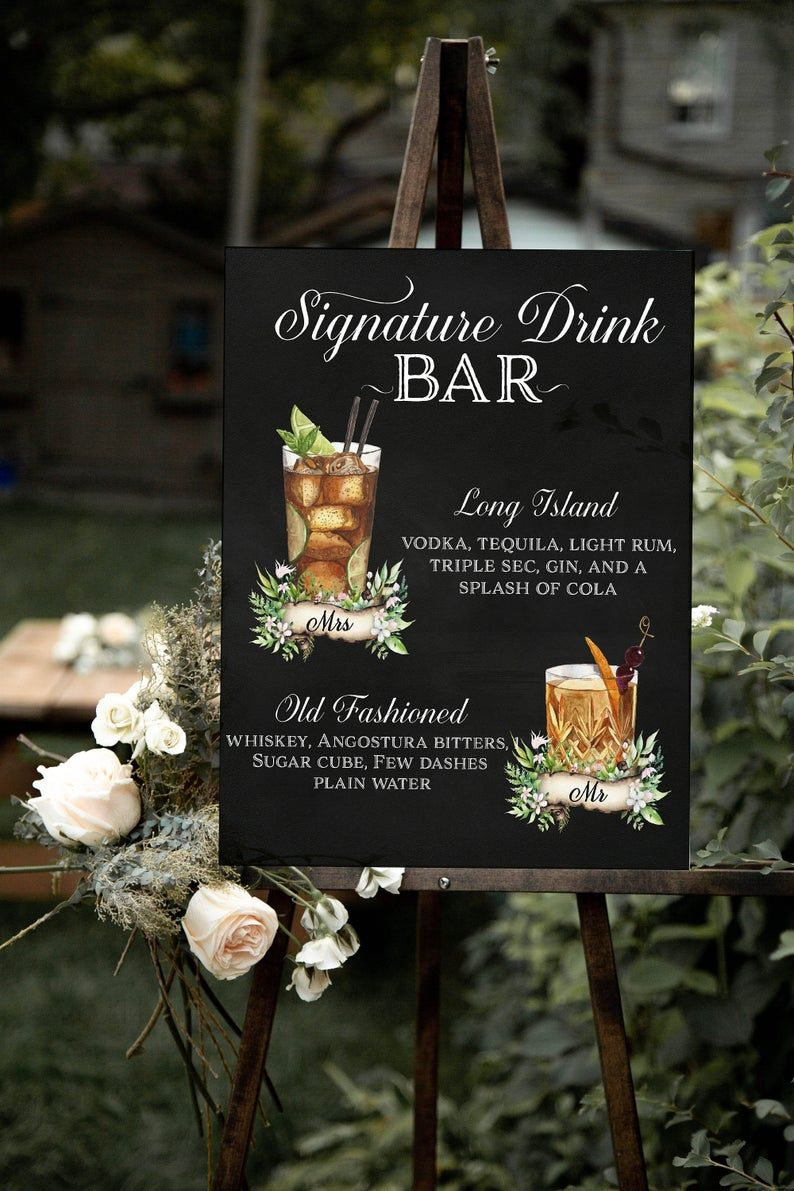 Wedding Signature Drinks Sign Printable His And Hers Bar Etsy In 2020 Wedding Signature Drinks Signature Wedding Drinks Sign Signature Cocktail Sign