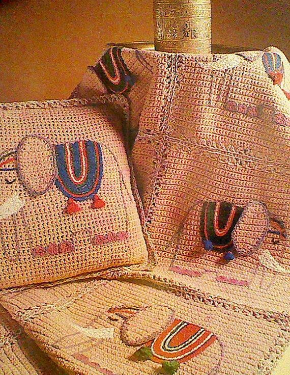Vintage Crochet Elephant Afghan and Pillow Pattern