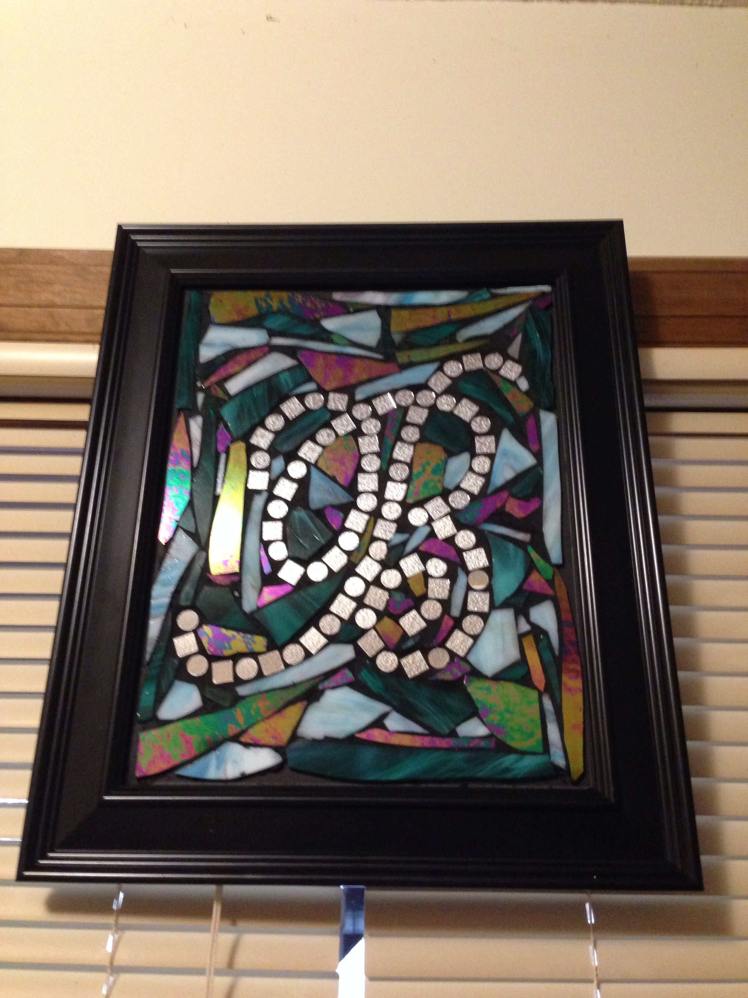 Stained glass initial mosaic: frame, foam board, letter, mirror ...