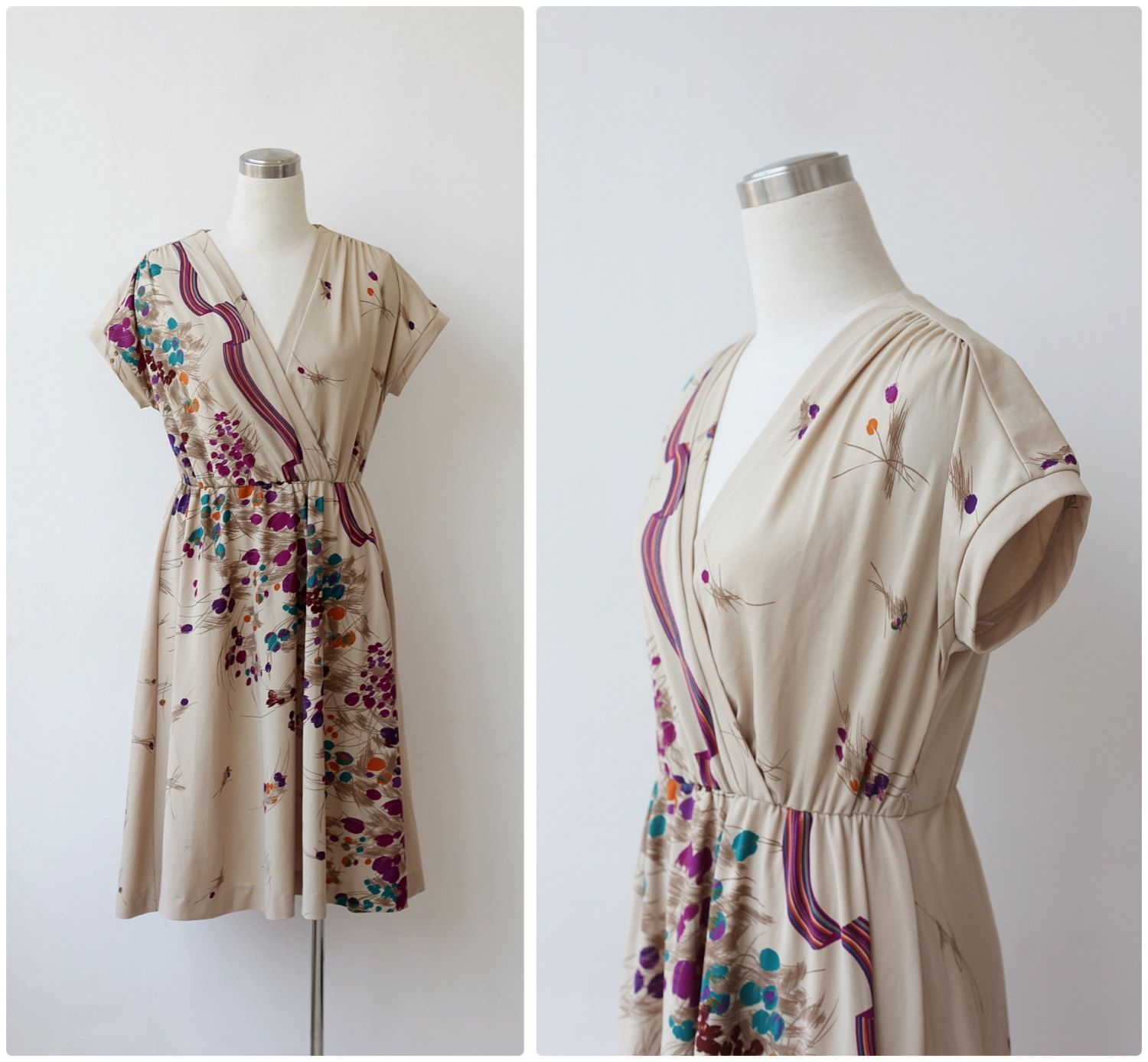 Vintage 1970s Dress Floral Dress Beige Midi Day Dress Boho Dress 70s dress Large by prvtcollection on Etsy
