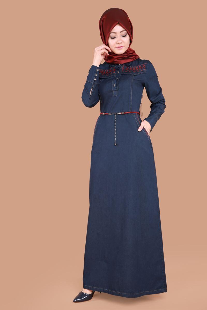 Nakisli Tesettur Kot Elbise Mz9216 Koyu Kot Muslim Fashion Dress Muslimah Dress Hijab Fashion