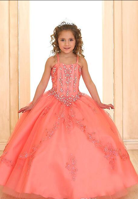 4b05a6ab2623 Coral Luxury Princess Ball Gown For Girls Pageant Dresses Sleeveless ...