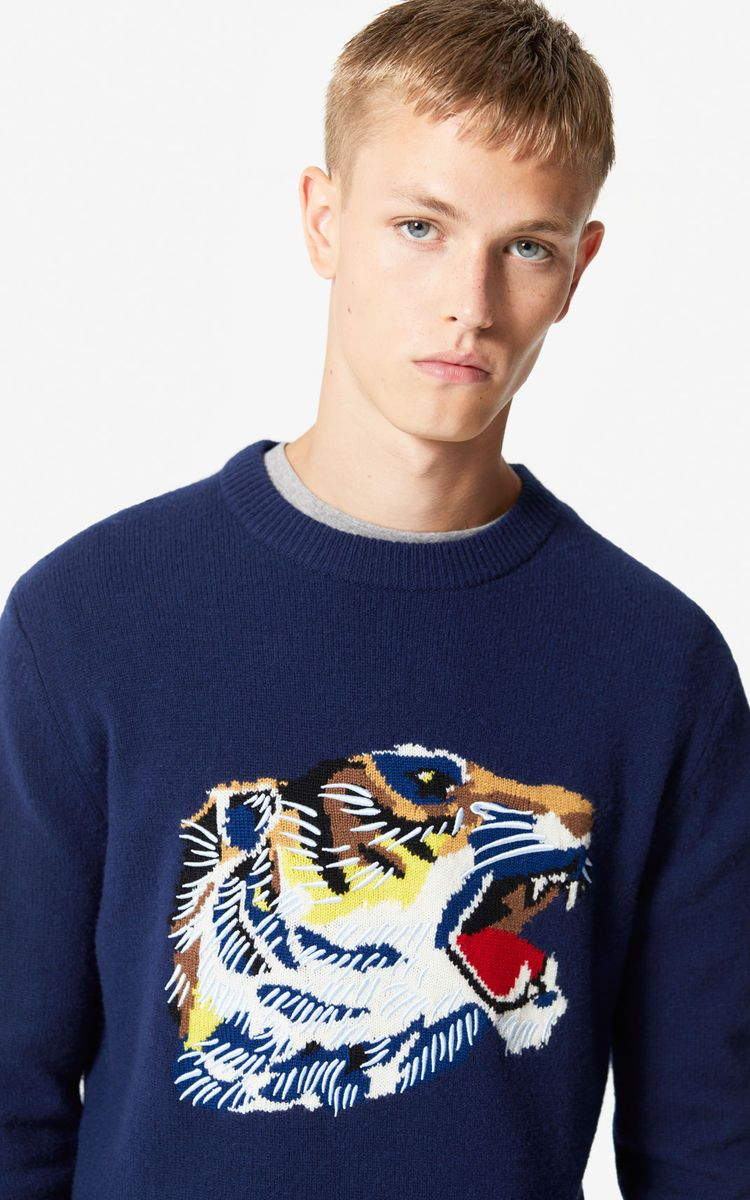 15759b9106a NAVY BLUE 'Tiger Head' jumper 'Go Tigers Capsule' for men KENZO ...