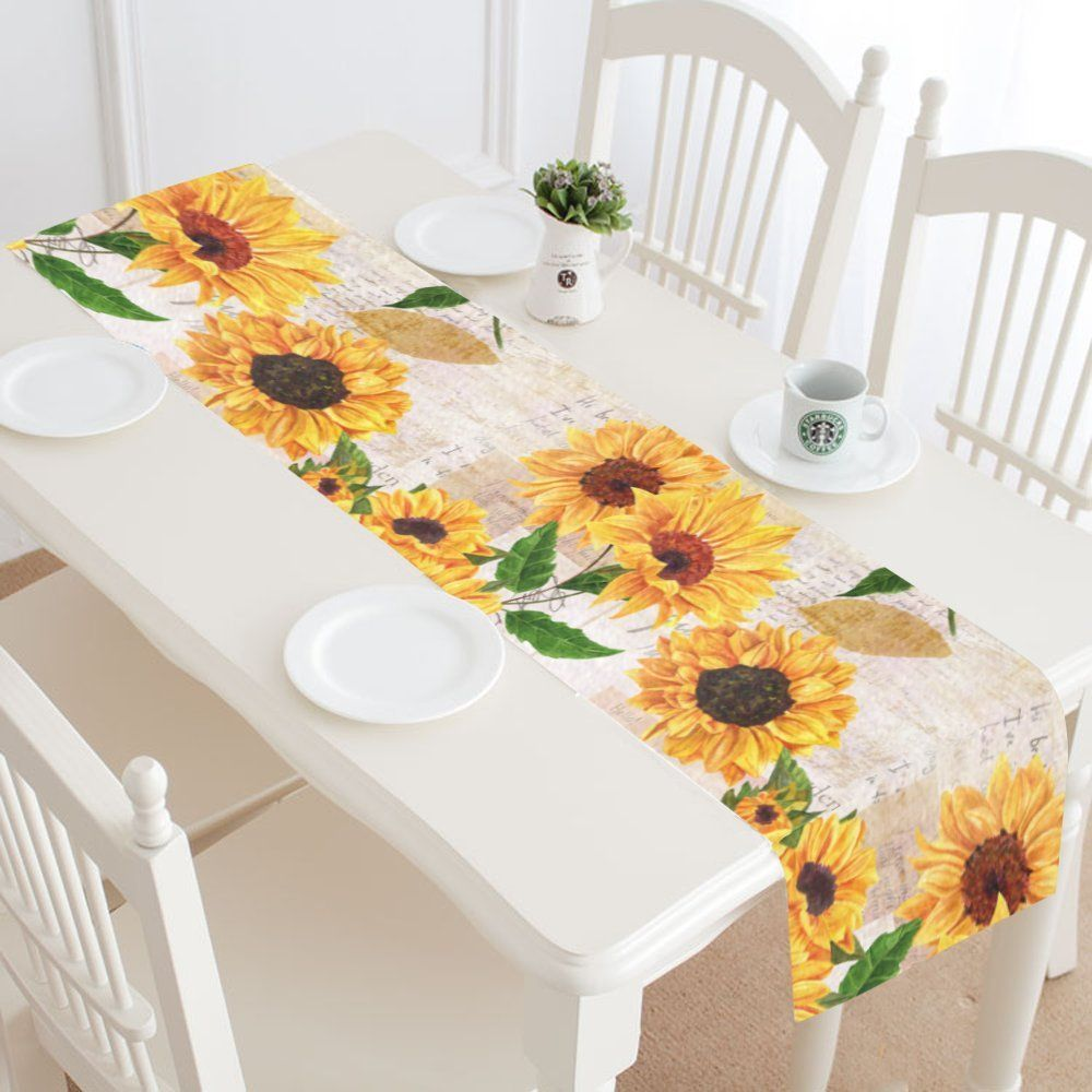 Mkhert Vintage Sunflowers On Postcards Newspaper Table Runner Home Decor For Kitchen Dining Wedding Party 16x72 Inch Walmart Com In 2021 Sunflower Home Decor Decor Sunflower Kitchen Decor