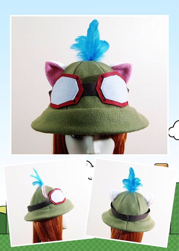 Fleece Captain Teemo Inspired Helmet   LoL Theme Hat with REAL Blue Dyed  Feathers Cosplay Costume Military Fantasy Video Game Headwear by  CosplaySnap ... a90d25a5c41c