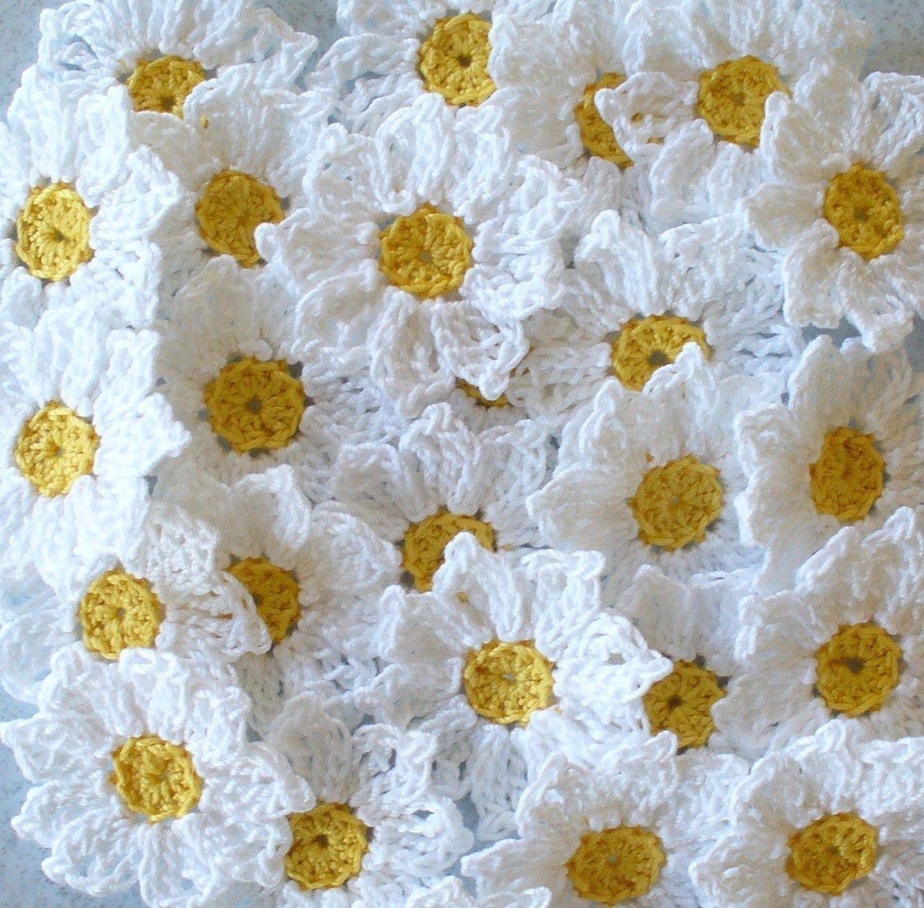 Crochet daisy flowers handmade white yellow embellishments red and white crochet daisies 16 small handmade by irenestitches izmirmasajfo