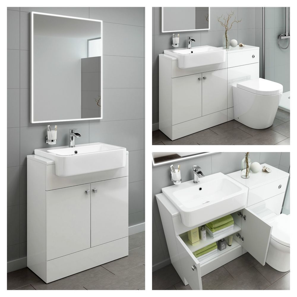 Designer Gloss White Basin Sink Bathroom Vanity Unit Furniture ...