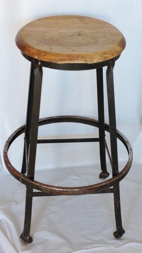 Wood Drafting Stool vintage toledo machine age industrial drafting stool wood metal