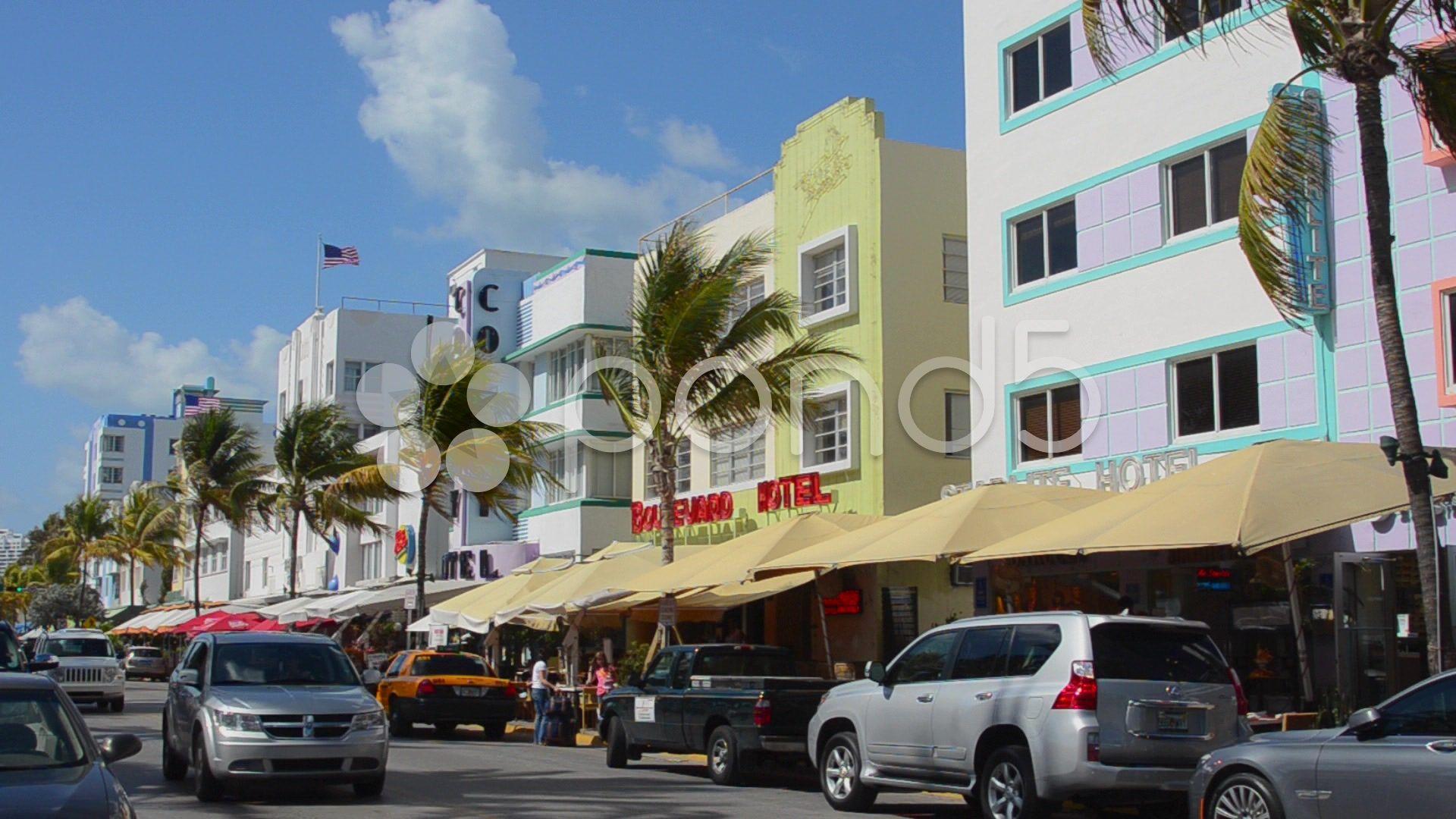 pastel retro art deco district of south miami beach ocean