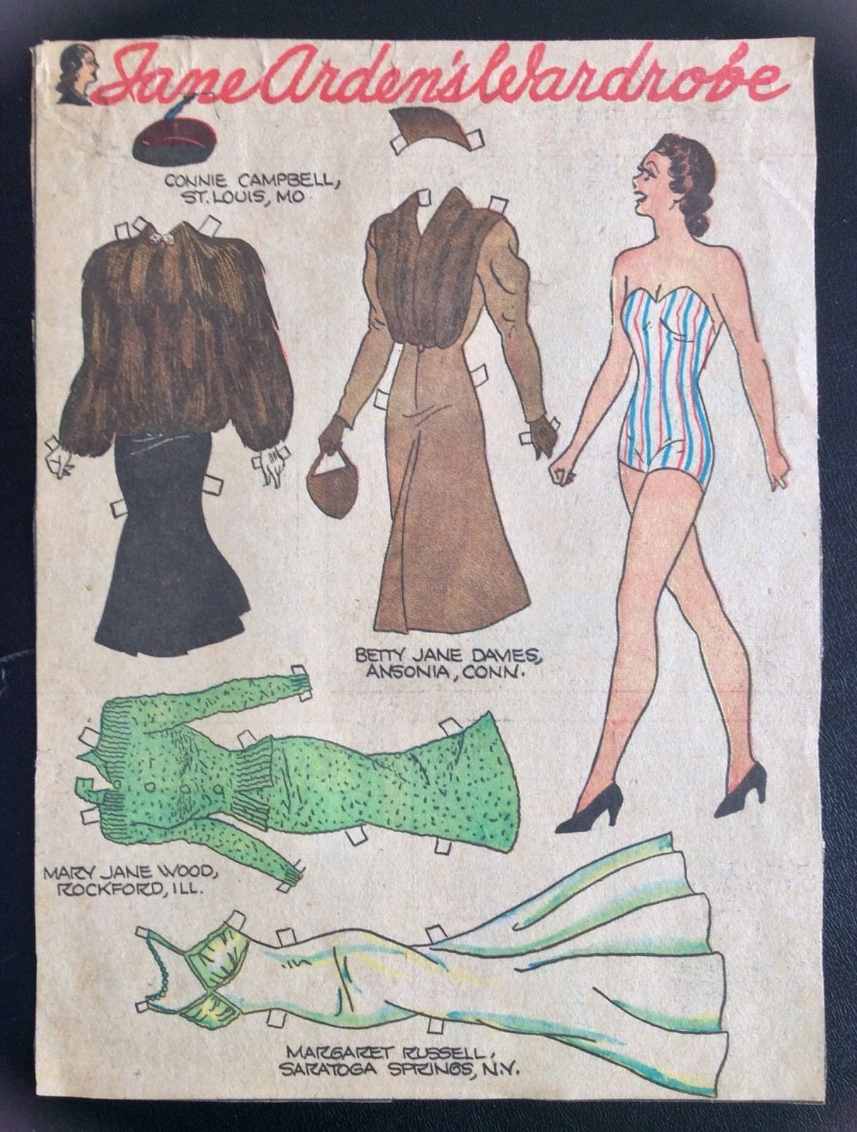 Jane Arden Old Sunday Funny Paper Doll 1930s Uncut Newspaper Section Furs