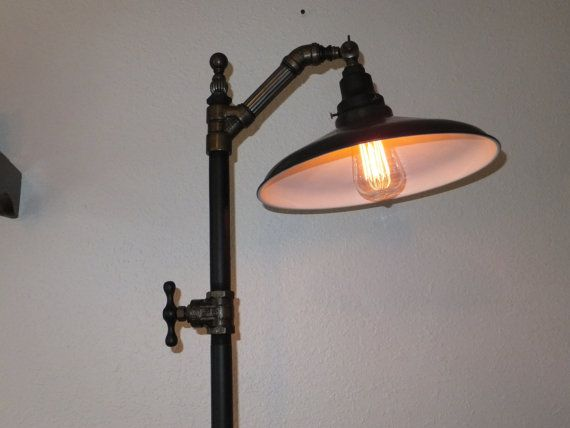 Steampunk Lamp Floor Lamp Reading Light Vintage Industrial Machine Age  Edison Bulb   $399