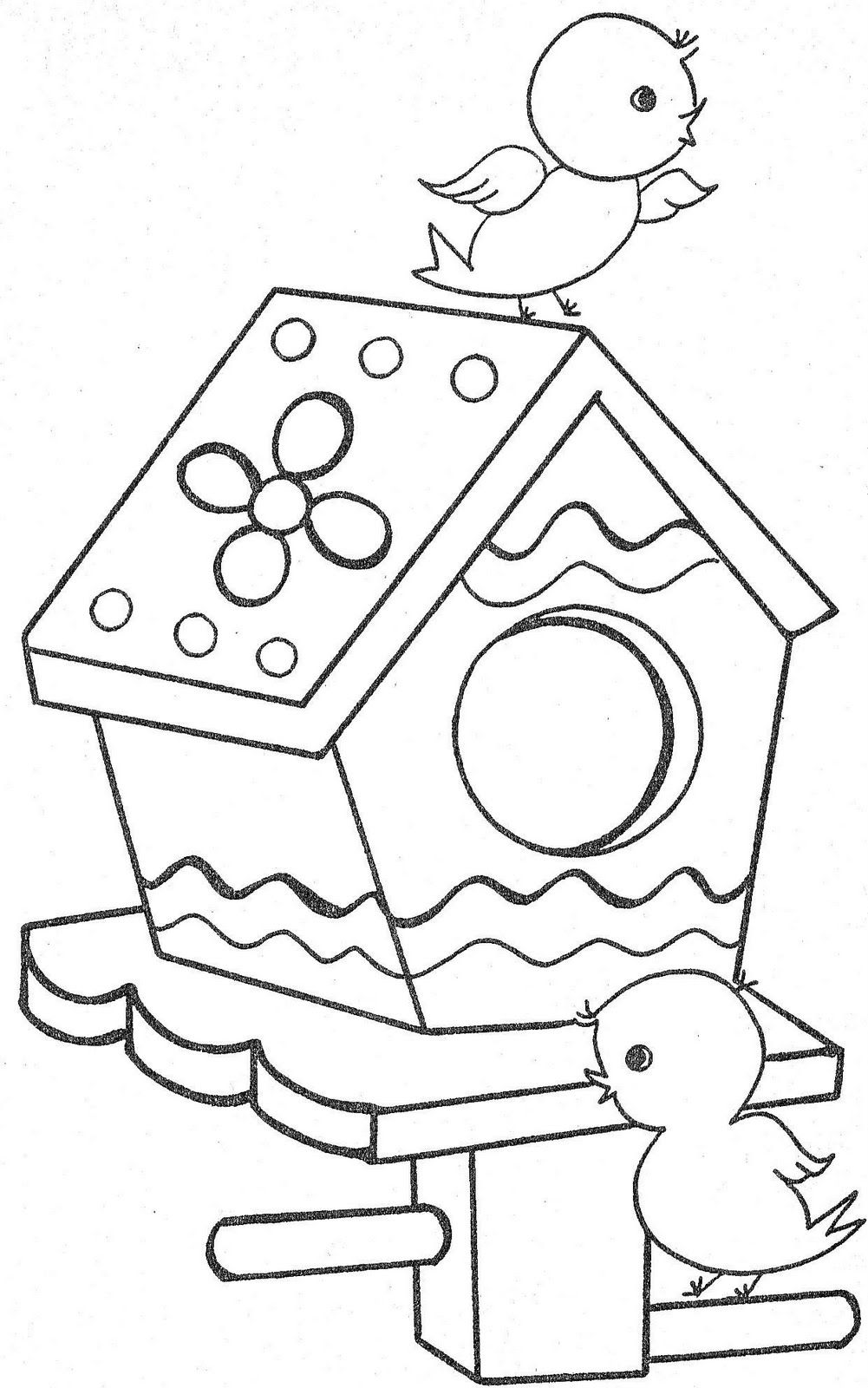 Oiseaux sur niche colorier coloriages pour les enfants - Coloriage niche ...