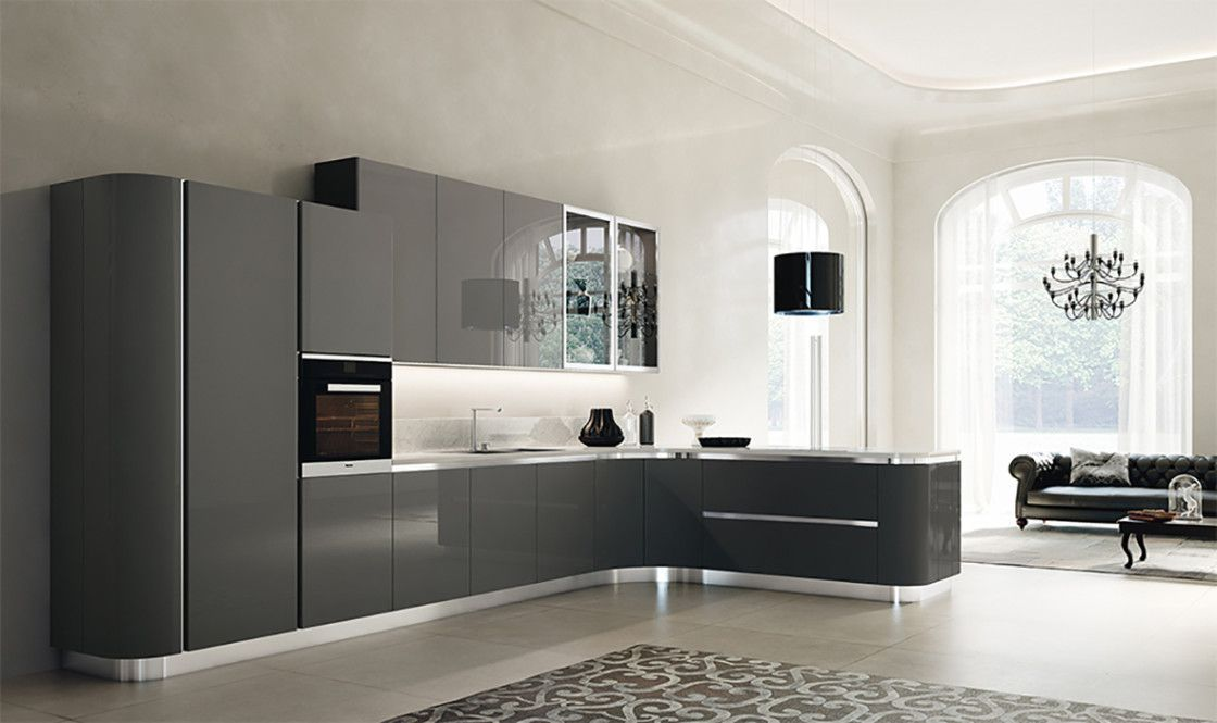 Classy Gray Painted Finish European Style Kitchen Cabinet