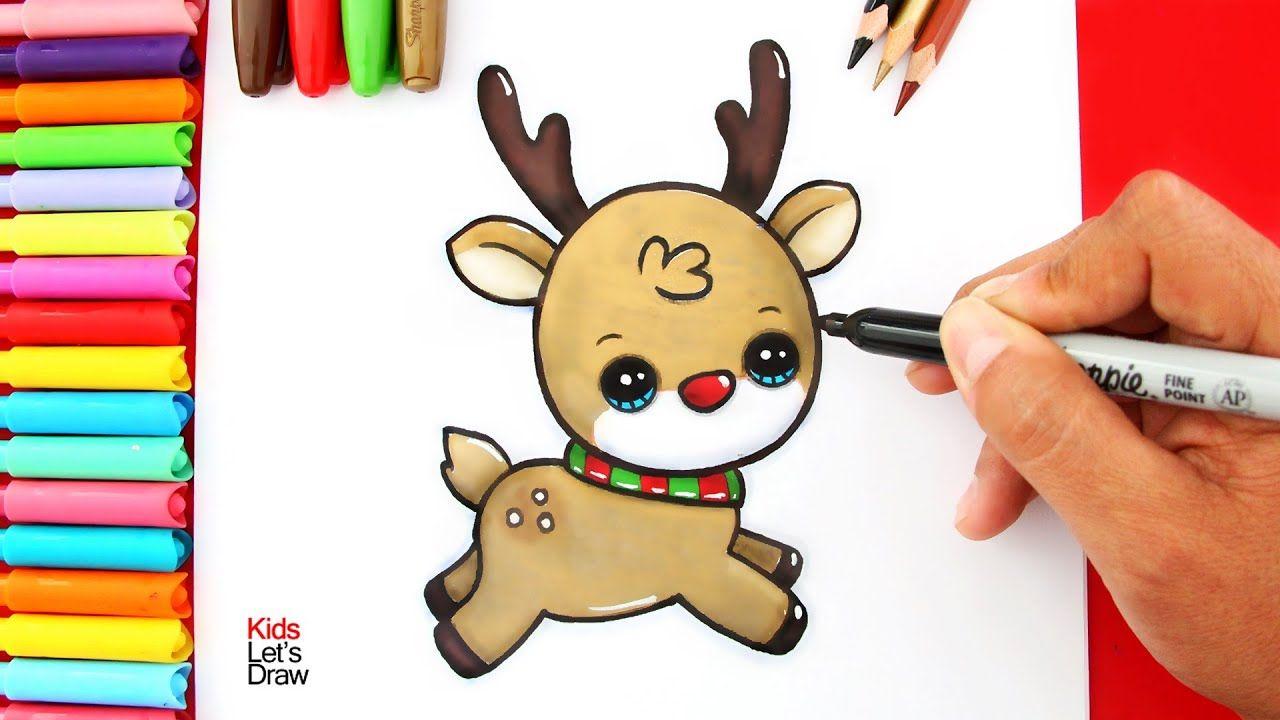 Cómo Dibujar Un Reno De Navidad Kawaii Youtube Cómo Dibujar A Santa Dibujos De Renos Clases De Dibujo Para Niños