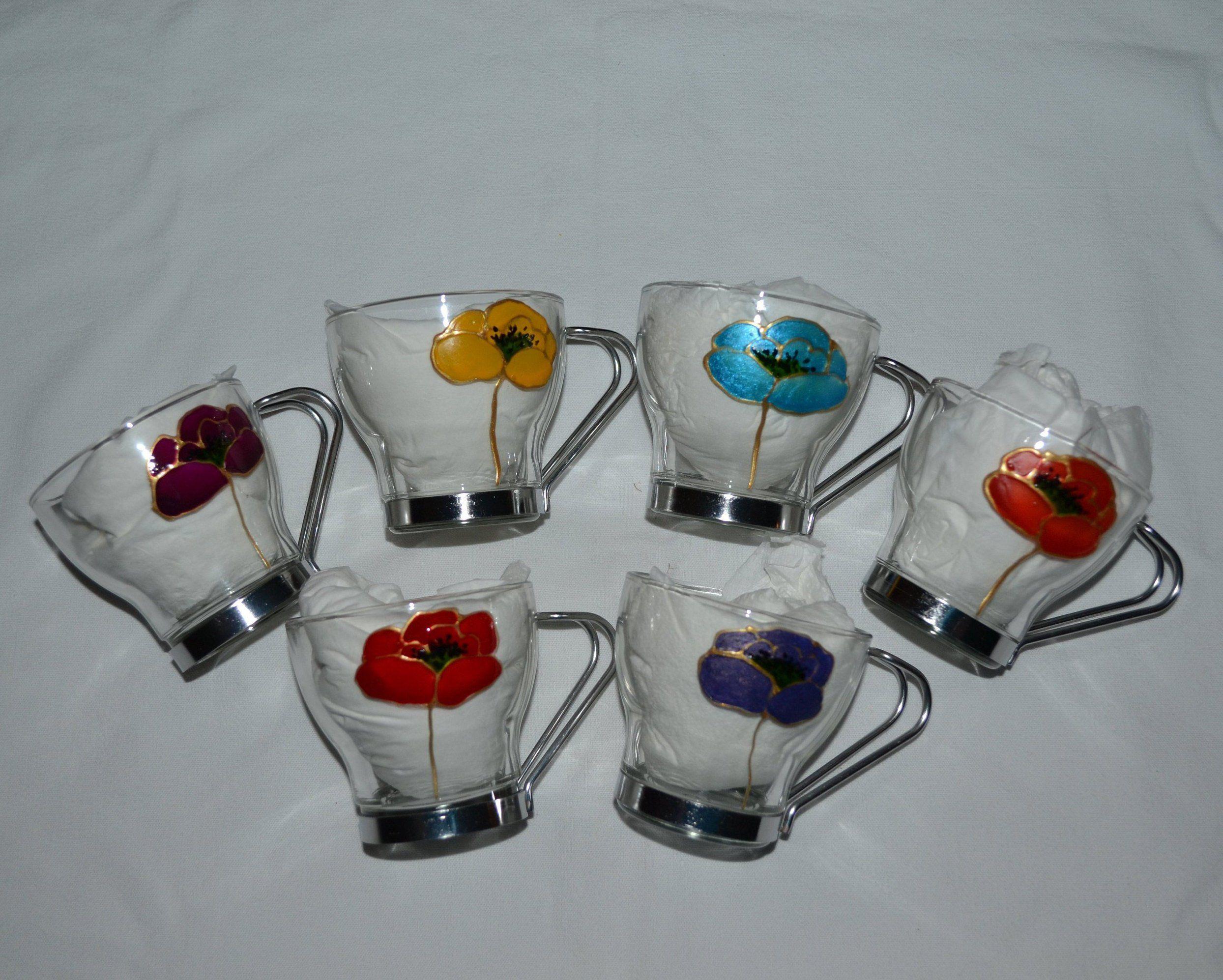 6 Tasses Caf ,Tasses Expresso,Tasses Th ,En Verre Peint Coquelicots