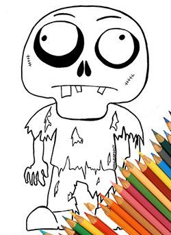 Zombie Funny Page Coloring Coloring A4 Cute Zombie Download Zombie