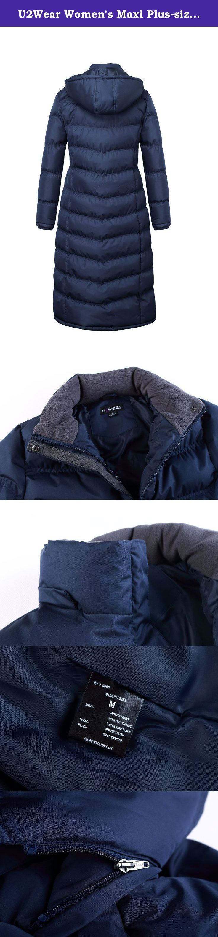 41483dc8129 U2Wear Women s Maxi Plus-size Water Resistant Puffer Full Length Coat with  Hood- Navy