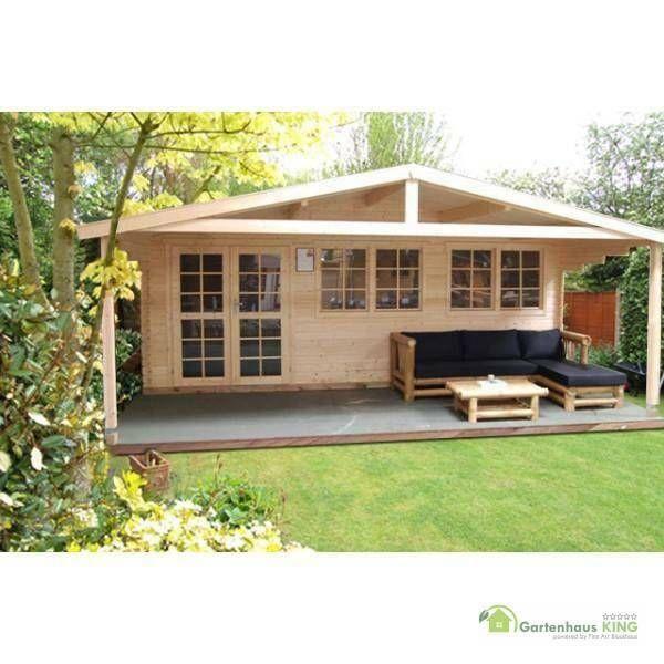40 mm Gartenhaus aus Holz in 6x4 m Größe, 2m Vordach
