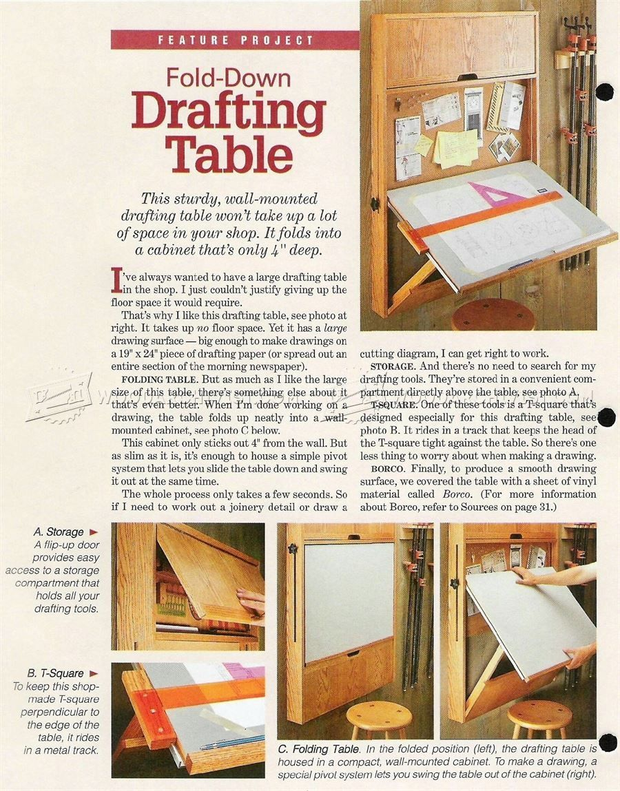 Wall Mounted Folding Drafting Table Plans | http://bottomunion.com ...