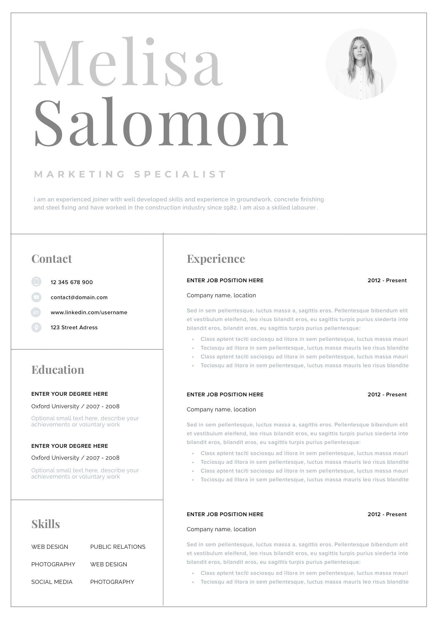 Professional CV template with photo for word Simple CV