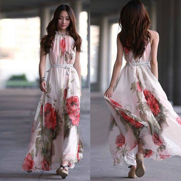 fb1ad5aa6f94 Women Summer Elegant BoHo Lotus Leaf Big Hem Chiffon Maxi Flowers Long Dress   unbrand  Maxi  Casual