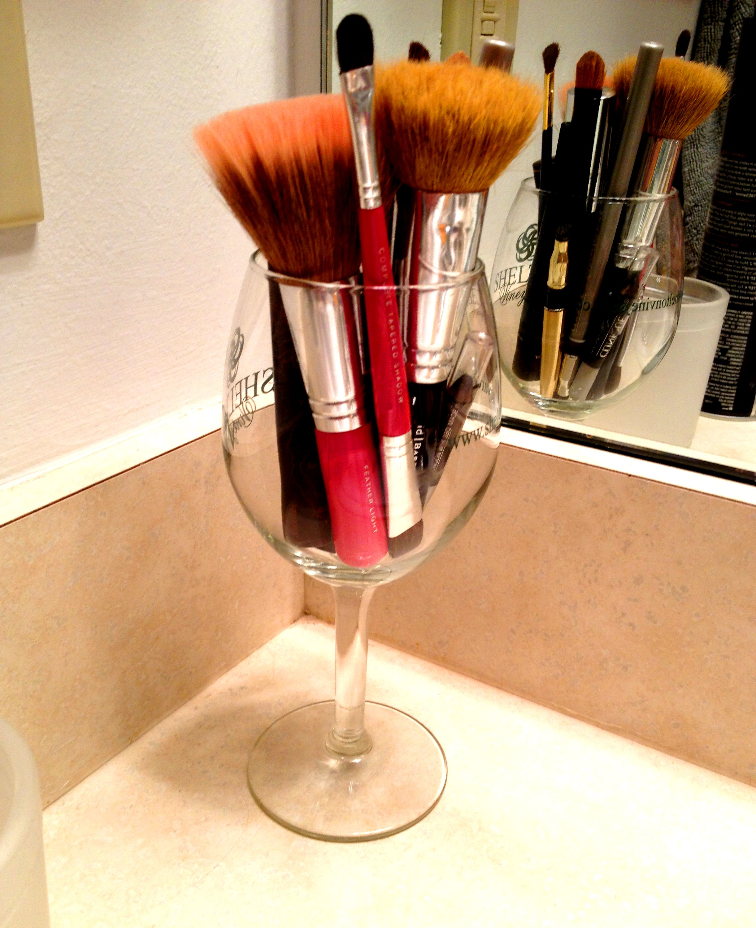 DIY Makeup Brush Storage Try a Wine Glass (With images