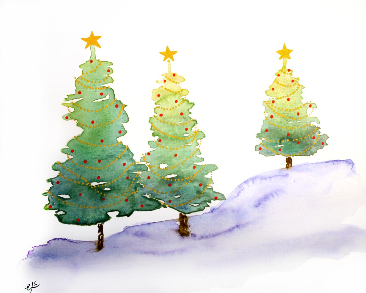 Ekeyart: Arboles Para La Navidad, Acuarela Y Rotuladores