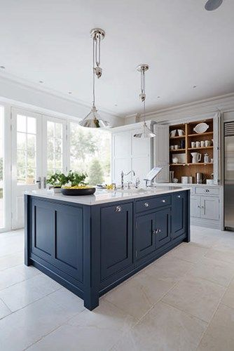 grey and navy kitchen by Tom Howley | Featured on Blue Tea Kitchen ...