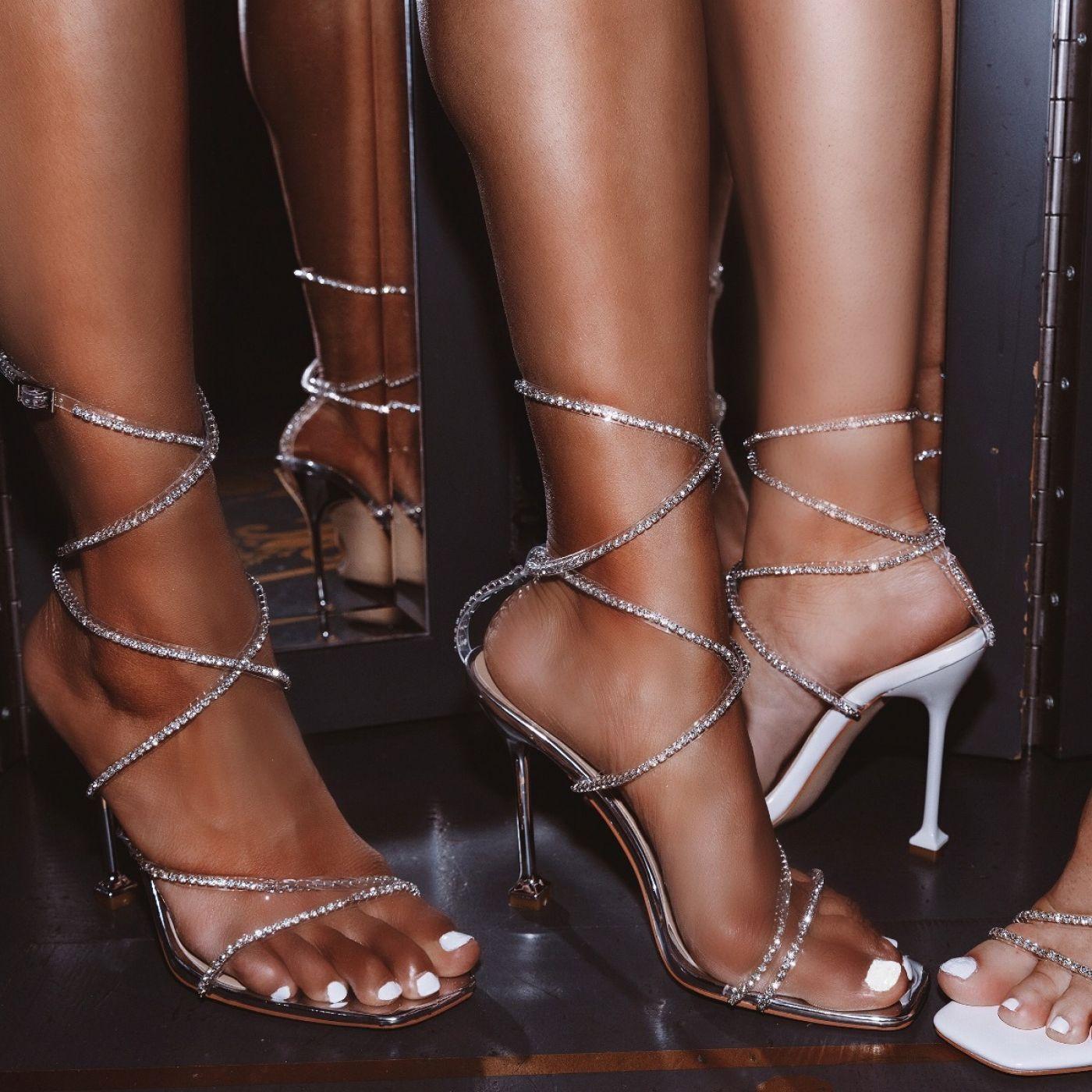 Chantel Silver Clear Diamante Strappy Heels Heels Silver Strappy Heels Stiletto Heels [ 1400 x 1400 Pixel ]