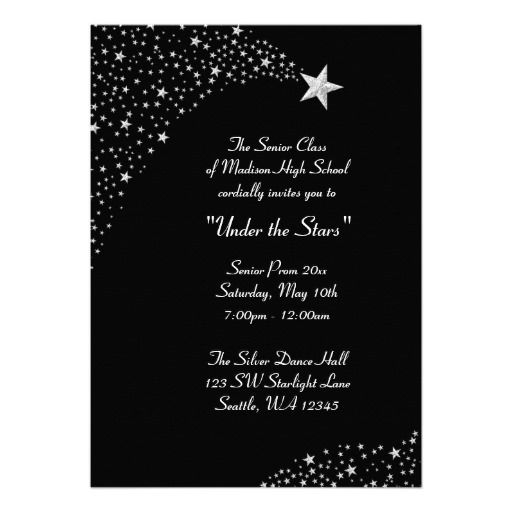 Silver falling stars prom formal invitations falling stars formal silver falling stars prom formal invitations stopboris Images