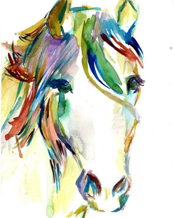 Print of Watercolor Painting Horsin' Around 8 x by ArtbyJessBuhman, $25.00 #horse #art #watercolor