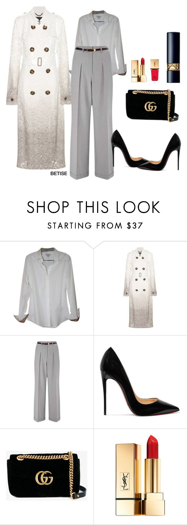 """""""WINTER......NIGHT !"""" by betty-sanga ❤ liked on Polyvore featuring Burberry, Miss Selfridge, Christian Louboutin, Gucci and Yves Saint Laurent"""