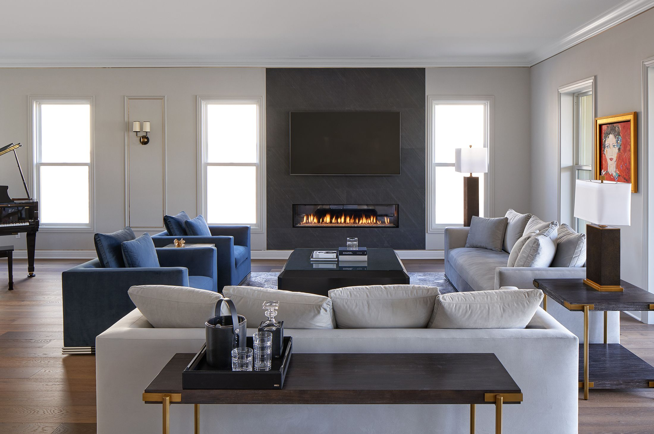 Gray Interior Design Transitional Contemporary Family Living Room Grey Walls Living Room Grey Paint Living Room Stone Fireplace Designs
