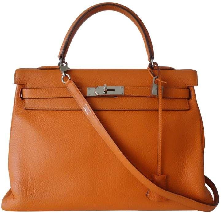 83fcca325bc1 Hermes Kelly 35 Orange Leather Handbag