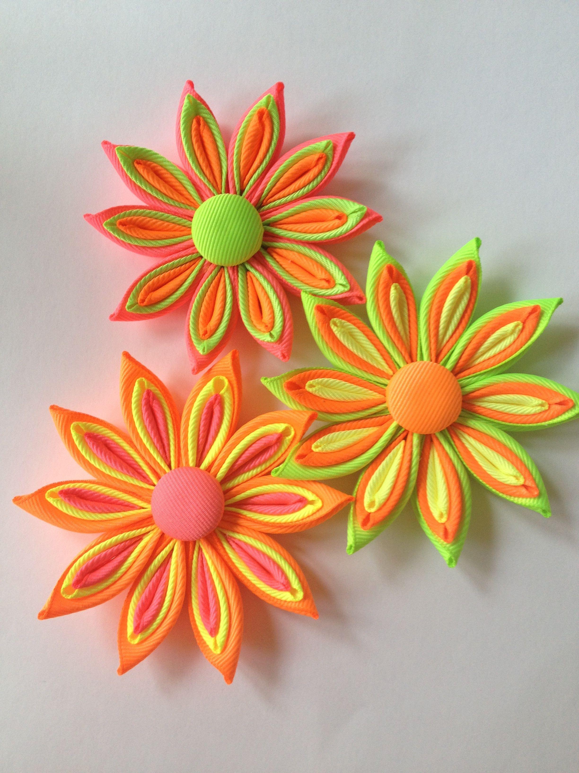 Neon Ribbon Flowers KANZASHI Pinterest