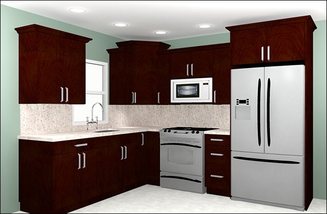 Kitchen, The Small Kitchen Room Design Then White Roof Also Wooden Cabinet  Also Sink Then Faucet Also Refegenerator Also Lamp: The New Decoration Of  The 10 ...