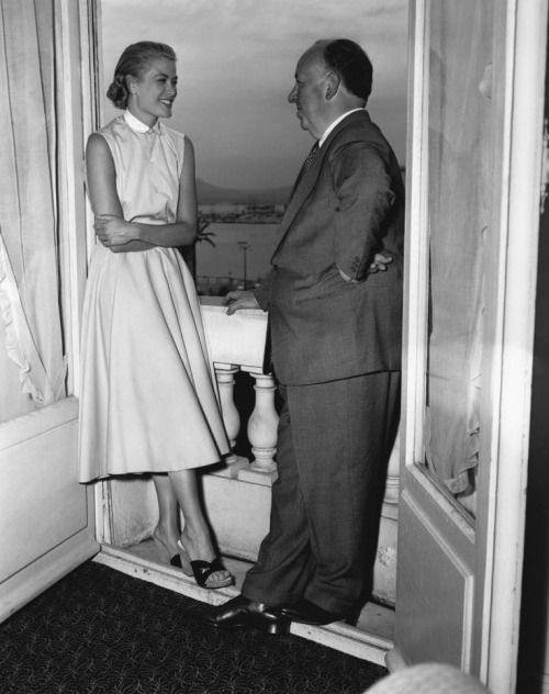 Grace Kelly with Alfred Hitchcock in Cannes, 1954.