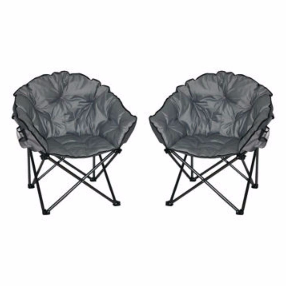 Padded Camping Chair Cheap Wedding Covers Canada Camp Supplies Moon Seat 2 Pack Folding Cup Holder New Ebay
