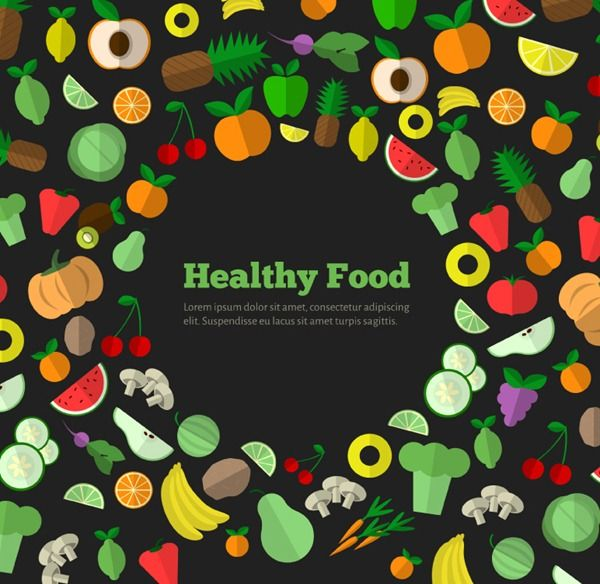 Healthy Food Fruits And Vegetables Design Vector Graphics
