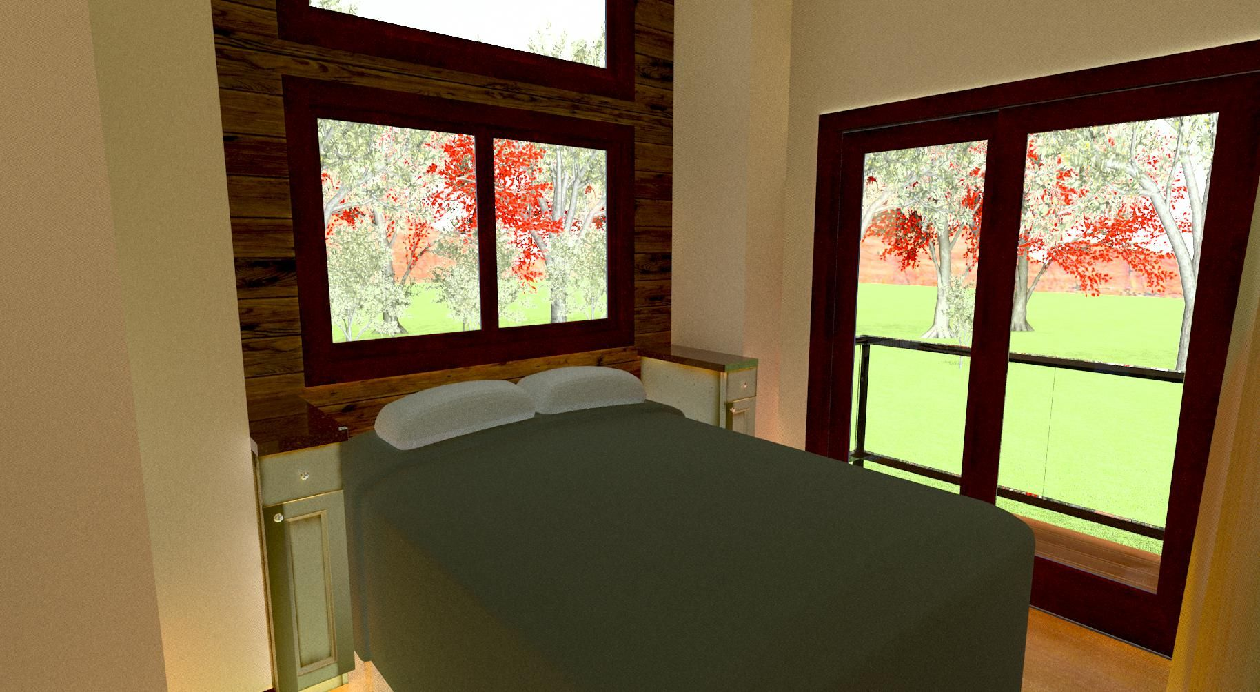 a queen size bed in the first floor bedroom and french doors that