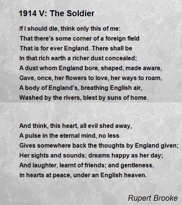 1914 V The Soldier Poem By Rupert Brooke Poem Hunter