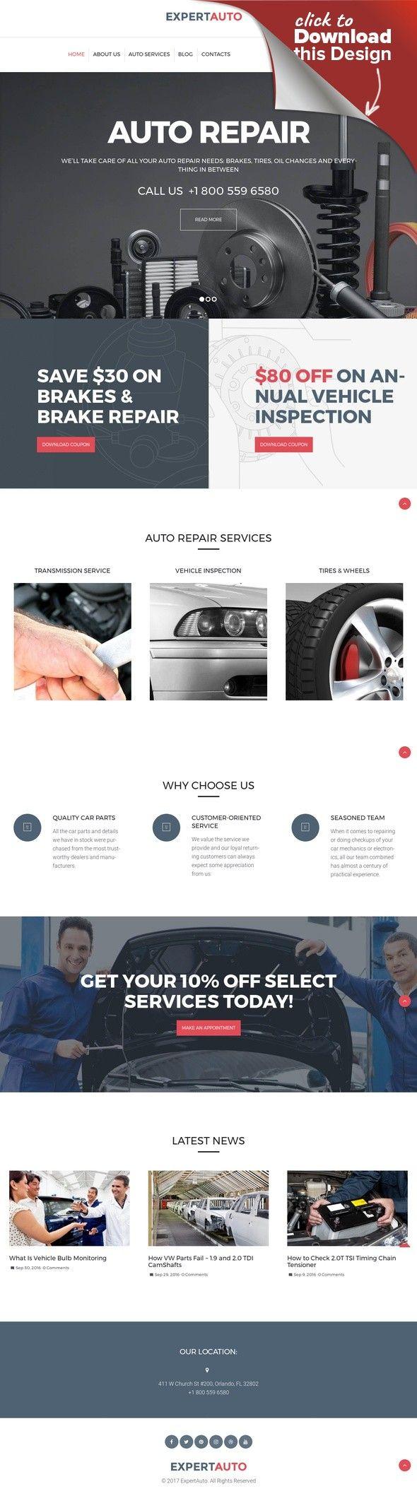 Tema de WordPress para Sitio de Reparación de coches Plantillas para ...