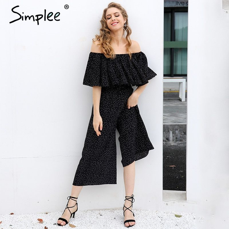 Elegant Ruffle Dot Long Jumpsuit Romper Off Shoulder Loose Chiffon Casual Playsuit Summer