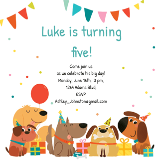 Delighted dogs printable invitation template customize add text birthday party themes stopboris Choice Image